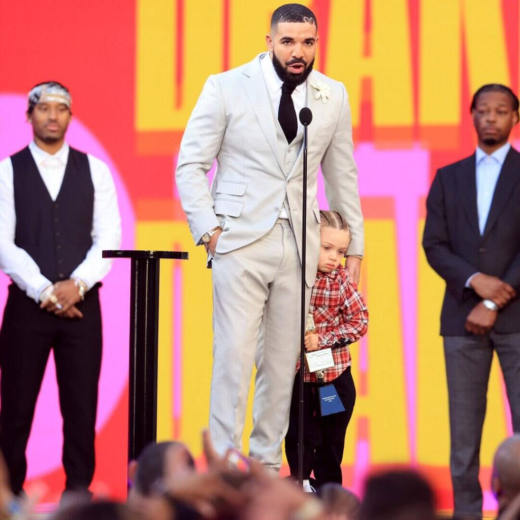 Drake and Son Adonis Strike the Same Pose in Adorable 4th Birthday Photo